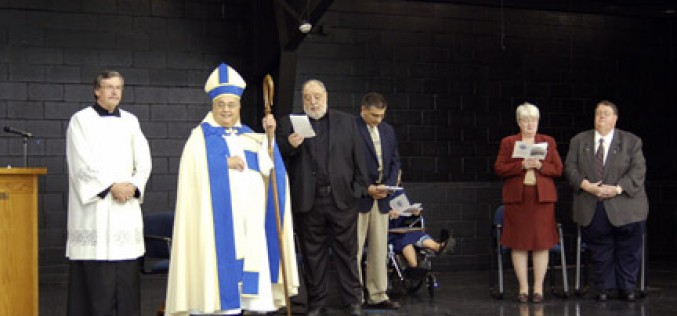 Bishop blesses St. Mary School