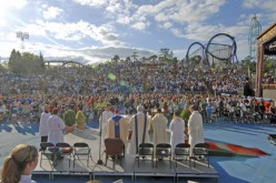 Voices raised in praise at Mass, shrieks of excitement on rides