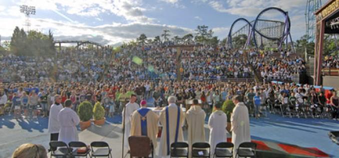 Voices raised in praise at Mass, shrieks of excitement on rides
