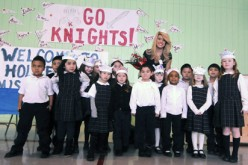 Miss America visits Holy Family School