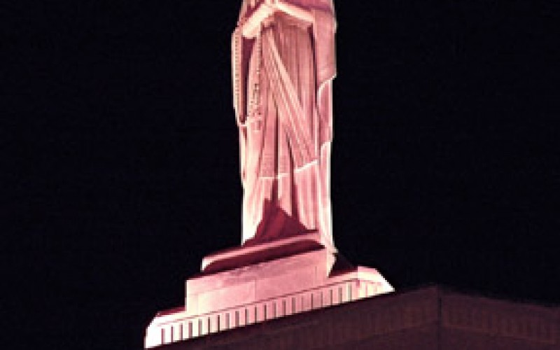 Restored statue turns pink for Breast Cancer Awareness Month