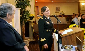 Two top-level military officers returned to their alma maters recently, providing inspiration and encouragement to students and future leaders. Above, Lt. Gen. Flora D. Darpino, Advocate General of the United States Army and 1979 graduate of Our Lady of Mercy Academy in Newfield, spoke during the school's annual Hall of Fame Dinner on Oct. 25 at Merighi's Savoy Inn in Vineland, honoring the 2014 Inductees into the school's Salerno Society. A Salerno Society Award recipient, Lt. Gen. Darpino is the first female Judge Advocate General of the U.S. Army in the country's history. At left is OLMA principal Sister Grace Marie. Below, Vice Adm. Nanette DeRenzi, Judge Advocate General of the U.S. Navy, a 1979 graduate of Camden Catholic High School in Cherry Hill, was the guest speaker at the school's Leadership Event for girls, grades six-eight, sponsored by Camden Catholic's Leadership Academy Oct. 19. Photos by Alan M. Dumoff