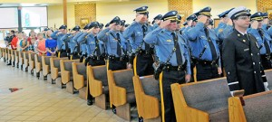 Law enforcement officers, firefighters, and emergency responders attend the 13th annual Blue Mass Sept. 29 at Our Lady of Hope Parish in Blackwood.