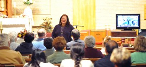 """Dr. Alveda King, niece of civil rights activist Martin Luther King Jr., speaks at Transfiguration Church, West Collingswood, on Oct. 2. Her talk focused on """"The Status of the Dream."""" Dr. King currently serves as a pastoral associate and director of African-American Outreach for Priests for Life, and Gospel of Life Ministries. Photo by Alan M. Dumoff"""