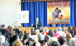 Father Rodolfo Londoño, spiritual director for the Charismatic Renewal in Colombia, inspires worshippers gathered at Notre Dame Regional School in Landisville for the fifth annual Hispanic Catholic Charismatic Renewal Conference on Oct. 25. Photo by Alan M. Dumoff, http://ccdphotolibrary.smugmug.com