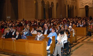 Pilgrims attend Mass in the Upper Church of the Basilica of the National Shrine of the Immaculate Conception, Washington, on Oct. 11, for the biennial Marian pilgrimage sponsored by the Diocese of Camden.