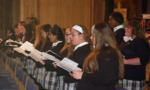 The choir from Paul VI High School, Haddon Township, sing at the pilgrimage Mass.