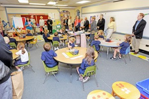 On Sept. 25, St. Rose of Lima School, Haddon Heights, hosted the Class of 1949, celebrating their 65th reunion, with a tour of the current school. Above, the class visits Teresa Sweeney's Kindergarten class. Photo by Alan M. Dumoff, more photos http://ccdphotolibrary.smugmug.com