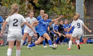 In girls' high school soccer action, Bishop Eustace, Pennsauken, defeated visiting Paul VI, Haddon Township, by a score of 3-1 on Oct. 29. Above, Paul VI's Megan Reardigan tries to move the ball downfield. Photo by Alan Md. Dumoff, more photos http://ccdphotolibrary.smugmug.com