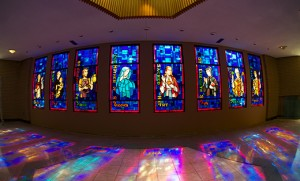 "St. Joachim Parish in Bellmawr recently replaced its stained glass windows with ones from the old St. Maurice Church in Brooklawn, which was sold last summer. In 2011, St. Maurice; St. Anne, Westville; and Annunciation, Bellmawr, merged to form St. Joachim. The windows depicting, from left, St. Dominic; St. Anthony; St. Joseph the Provider; Our Mother of Sorrows; Sacred Heart of Jesus; St. Elizabeth Ann Seton; St. Patrick; and St. Maurice will ""bring people together, as a visible witness"" to former parishioners of St. Maurice, ""who will see a part of their church, now bringing their memories and faith"" to St. Joachim, said Father Piotr Szamocki, pastor. Photo by Vince Payne"