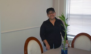 Jacqueline Vasquez, retired from the United States Air Force, stands in the Merchantville apartment she shares with her son. Ready Vet Go, a program of Catholic Charities, Diocese of Camden, has provided financial assistance to help Vasquez with the apartment. Photo by Peter G. Sánchez