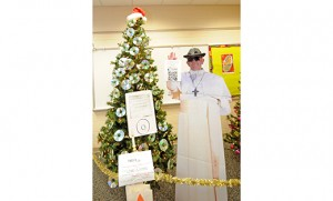 Pope Francis Rockin' Christmas Eve is the title of this display, part of the Christmas Trees on Parade decorating contest Dec. 4 at Catholic Community of the Holy Spirit, Mullica Hill. It was sponsored by the Knights of Columbus, Holy Name Council 12503. The decorator was Ray Cooper, parish director of youth ministry. Photo by Alan M. Dumoff, more photos, http://ccdphotolibrary.smugmug.com