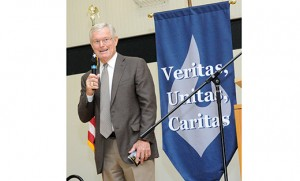 Dick Vermeil, former head coach of the Philadelphia Eagles, was the keynote speaker at St. Augustine Prep's Communion Breakfast Nov. 30. Vermeil came to the Richland school to speak on hard work, dedication and finding yourself. Photo by Alan M. Dumoff