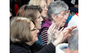 Worshippers pray during a retreat hosted by the Camden Diocese Charismatic Committee. Father Ariel Hernandez, pastor of Our Lady of the Blessed Sacrament Parish, Newfield, was retreat master of the Jan. 23-25 Landisville retreat. Photo by Alan M. Dumoff, more photos http://ccdphotolibrary.smugmug.com