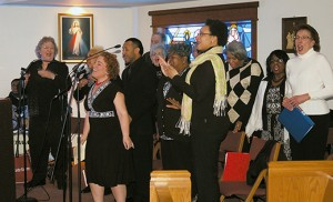 The Camden Diocesan Gospel Choir sings at Mass celebrating Black History Month Feb. 15 at St. Michael the Archangel, Franklinville. Photo by James A. McBride