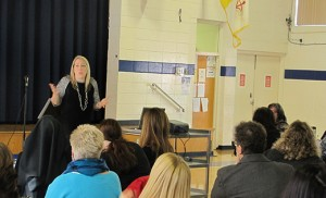 Maria Ippolito, director of School Marketing and Communications for the Catholic Schools Office of the Archdiocese of Chicago, leads a workshop to over 50 Diocesan elementary school principals, advancement directors and parents about the archdiocese's highly successful Parent Ambassador Program.  The morning-long event sponsored by the Office of Catholic Schools was held at Our Lady of Mt. Carmel Regional School in Berlin.