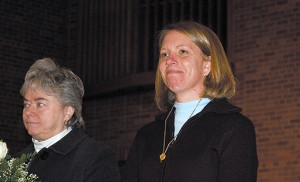 Sister Karen Dietrich, Ph.D., of Catholic Partnership Schools, (left), Sister Julie Firsch of the Romero Center, Camden, and other sisters involved in Camden ministries were honored at St. Joseph Pro-Cathedral, Camden, on Feb. 1. Also honored were Sister Veronica Roche, Sister Sharon McCarthy and Sister Donna Minster. Photo by James A. McBride