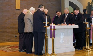 On March 15 at Church of the Incarnation in Mantua, Bishop Dennis Sullivan called to orders nine men who are preparing for ordination to the permanent diaconate in May. During the ceremony, the men promised to fulfill their duties to the permanent diaconate, including obedience to the bishop and his successors. The nine men are Frank Campisi, from Our Lady of Peace Parish, Williamstown; Peter Davidson, St. Brendan the Navigator, Stone Harbor; Frank Dunleavy, Infant Jesus, Woodbury Heights; Fernando Encarnado, Our Lady of Hope, Blackwood; Thomas Fargnoli, Our Lady of Hope, Blackwood; Kevin Hannon, Holy Angels, Woodbury; Robert Iuliucci, Christ the Redeemer, Atco; Robert Scarpa, St. Thomas More, Cherry Hill; and Aaron Smith, Christ the Redeemer, Atco. Photos by James A. McBride