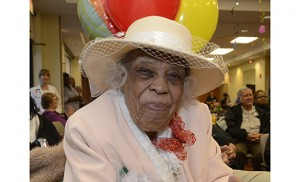 Camden resident and Jamaica native Anna Scott, a participant at LIFE at Lourdes — a program that assists elders to live safely at home while providing them with a team of healthcare experts —recently celebrated her 100th birthday with friends and LIFE at Lourdes co-participants and staff. Scott, who enjoys writing poetry, sewing and faith-based activities, enjoyed a celebration that included a prayer service, poetry readings, and a drummer from a steel band.