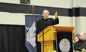 Father Robert Barron gives a presentation on St. Augustine and the New Evangelization at St. Augustine Preparatory School, Richland, on April 28. Photo by Alan M. Dumoff, more photos ccdphotolibrary.smugmug.com
