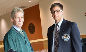 """Joe Carmichael, history teacher and disciplinarian at St. Augustine Preparatory School, Richland, is pictured with senior Matt Oakley of Egg Harbor Township, who spearheaded The Perseverance Scholarship. Dedicated to Carmichael, it will be awarded yearly to a senior who, like the man who inspired it, lives the Augustinian values of truth, unity and love. Matt noted that Carmichael's dedication to his students did not waver even last April when his wife Jean died. """"During the most personally challenging time of his life he continued to bring the same level of excellence and enthusiasm in the classroom that he has for the past 30 years,"""" he said. Carmichael has worked at St. Augustine since 1984."""