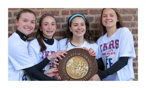 The Christ the King Girls Relay Team captured first place for the Camden Diocese at the Penn Relays in the 4 x 100 meter relay. The event took place on April 24 at Franklin Field in Philadelphia. Pictured are team members Joanna Wallace, Lisa Vigilante, Katie Miller and Hunter Foulke.