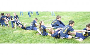 The fourth annual Laps for Learning at St. Mary Elementary School, East Vineland, took place on May 1, with appearances from the Chick-Fil-A Cow and Bob the Pig. Students and animals took part in a Barnyard Brawl, and Tug-of-War, above. Photo by Alan M. Dumoff, more photos ccdphotolibrary.smugmug.com
