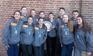 St. Rose of Lima, Haddon Heights, boys' track team won the Camden Diocese 4 x 100 meters relay event at the Penn Relays on April 24, with a time of 51.69. Team members are Aidan Deeck, Luke VanAuken, Chris Knapp and Shane Slack with alternates Rob Schuhl and Mike Robinson. The girls' team, above, of Katherine Soanes, Colleen Crawford, Amanda Mascolo and Julia Bruno with alternate Isabella Garcia took third place and bronze medals with a time of 57.57.