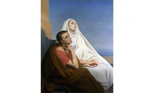 St. Monica and St. Augustine by Ary Scheffer. Inside St. Nicholas of Tolentine Church is a mosaic based on this image.