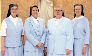 Sister Melissa Marie Mastrangelo, I.H.M., renewed the vows of chastity, poverty and obedience that she made at her first profession as a member of the Sisters, Servants of the Immaculate Heart of Mary at a Mass on Aug. 11 at Villa Maria House of Studies, the Motherhouse of the IHM Sisters in Immaculata, Pa. Sister Melissa Marie (second from left), whose parents belong to Notre Dame de le Mer Parish, Wildwood, is pictured with Sister Eileen McGuigan, IHM juniorate directress, Sister Lorraine McGrew, IHM general superior, and Sister John Evelyn DiTrolio, IHM council member.