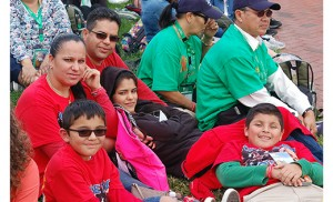 The Camarillo family from Saint Clare of Assisi Parish, Gibbstown, with mother Elena, father Raul, children Karla and Fernando (in glasses) and cousin Omar, wait for Pope Francis to speak at Philadelphia's Independence Hall last Saturday. Photo James A. McBride