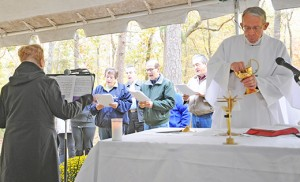 Father Neal Dante, a retired priest of the Camden Diocese, was the celebrant of a Mass to celebrate All Souls Day at Saint Mary in the Pines Cemetery, Pleasant Mills, on Oct. 24. Photo by Alan M. Dumoff