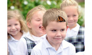 On the afternoon of Oct. 7, the kindergarten class at Assumption Regional School in Galloway Township released their Monarch butterflies before reciting the rosary with the entire school. Students waved goodbye to their friends, who took their time leaving the students before beginning their migration to Mexico for the winter. Photos by Alan M. Dumoff, more photos/ccdphotolibrary.smugmug.com