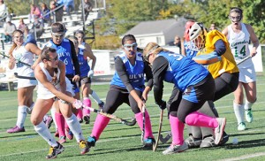 On Oct. 17, Camden Catholic (Cherry Hill) beat visiting Paul VI (Haddon Township) by a score of 1-0 in high school field hockey. At left, a fierce contest for possession. Photo by Alan M. Dumoff