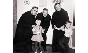 Brother Damien O'Shea, left, was one of the first five members of the Hospitaller Order of St. John of God who founded St. John of God Community Services. He is pictured with Father — later Msgr. James — Gaffney, Brother Leo Clancy and children. The agency is celebrating its 50th anniversary with a gala on Friday, Nov. 6, at Auletto Caterers in Deptford Township.