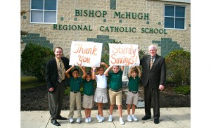 Bishop McHugh Regional Catholic School students received a visit on Oct. 8 from Christopher L. Hayes, assistant vice president/branch manager of the Dennisville branch of Sturdy Savings Bank. Hayes stopped by to drop off a check in the amount of $2,250 for the school's Adopt-A-Student Program, which provides tuition assistance for families in need. Pictured from left are principal Tom McGuire; Carson Payne, age 9, Cape May Court House; Makayla Delgado, age 7, Rio Grande; Lauren Montalbano, age 8, Cape May Court House; Abigail DiStaulo, age 8, Cape May Court House; C.J. Reich, age 7, Seaville; and Christopher L. Hayes of Sturdy Savings Bank.