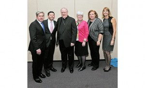 Bishop Dennis Sullivan at Temple Emanuel in Cherry Hill on Oct. 16, with Rabbi Jerome David; Rabbi Lawrence Sernovitz; Mary Boyle, superintendent of schools for the Diocese of Camden; Helen Kirschbaum, director of the Goodwin Holocaust Museum and Education Center; and Jessica Manelis, vice president of Communications at Temple Emanuel. Photo by Alan M. Dumoff