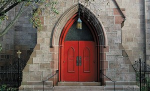 The front door of the Cathedral of the Immaculate Conception, Camden. Photo by James A. McBride