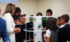 "Fifth graders of St. Joseph Pro-Cathedral School in Camden help create a ""tower garden"" to learn about gardening and preparing their own food through ""Grow Good Health with Tower Gardens"" by Juice Plus+ on Nov. 17. Photo by James A. McBride"