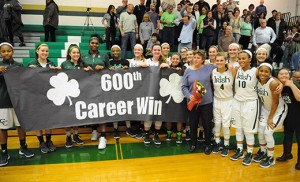 Camden Catholic's 58-37 win against Shawnee in high school girls' basketball on Dec. 18 was special for coach Christine Palladino. The coach of the Irish notched her 600th victory that night, becoming only the second coach in South Jersey high school girls' basketball history to reach that milestone. Currently, Palladino's record sits at 601-230, as her squad defeated Cherokee 47-40 last Monday. Photo by Alan M. Dumoff