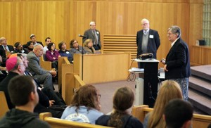 Dr. Ruth N. Sandberg, Leonard and Ethel Landau Professor of Rabbinics at Gratz College addresses the attendees as co-presenter Dr. Philip A. Cunningham, Professor of Theology and Director of the Institute for Jewish-Catholic Relations of Saint Joseph's University, observes.