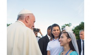 Pope Francis greets Dr. Christina Hip-Flores in Cuba during his visit there in September. Hip-Flores, who works part time in the Camden Diocese Tribunal, was part of Cuba's organizing committee for the papal visit. Photo L'Osservatore Romano