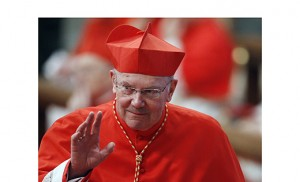 Cardinal William J. Levada, former prefect of the Congregation for the Doctrine of the Faith, waves as he arrives for a Mass with new cardinals in St. Peter's Basilica at the Vatican in this Nov. 21, 2010, file photo. He is among the cardinals who will soon turn 80 and thus lose their eligibility to participate in a future conclave. CNS photo/Paul Haring