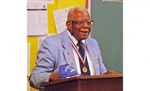 Dr. Eugene J. Richardson, one of the Tuskegee Airmen during World War II, shared his story and history of the African-American aviators with visitors to Holy Eucharist Church in Cherry Hill on Feb. 5. The Tuskegee Airmen were the first African-American military aviators in the U.S. armed forces. Richardson spoke of how the military was racially segregated as was much of the U.S. federal government and how the airmen were subjected to racial discrimination, both within and outside the army.  Overcoming these adversities, they flew with distinction. The Tuskegee 332nd Fighter Group saw action in Operation Torch, in Sicily, and were deployed as bomber escorts in Europe. Photo by Alan M. Dumoff