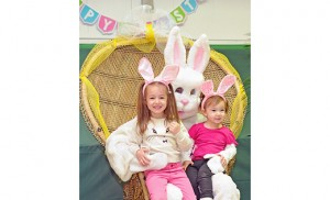 Sophia Alegre, a Preschool 4 student at Cape Trinity Catholic School, Wildwood, and her younger sister have their picture taken with the Easter Bunny at Our Lady Star of the Sea, Cape May, on March 12. bottom, Breena Garvey, also a Preschool 4 student at Cape Trinity. Photos by Alan M. Dumoff