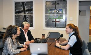 St. Mary School, Williamstown, eighth grade student Emma Straus was recently interviewed by Domestic Church Media for the radio show TGIFriday LIVE with hosts Jim Manfredonia and Gabriella Furmato. Emma talked about her Catholic faith and how her years in Catholic School helped to form her spiritual life. Emma's interview will be heard locally on Friday, April 29 at 4:15 p.m. on WGYM 1580 AM as well as on the app Domestic Church Media. Pictured are radio hosts Gabriella Furmato and Jim Manfredonia and Emma.