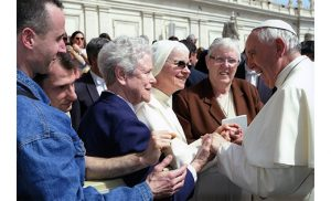 Sister Mary J. McGarrity, IHM, Delegate for Women Religious for the Diocese of Camden is greeted by Pope Francis. Also pictured are Sisters Joyce Candida, OSHJ, and Eymard Flodd, SCC. The three sisters were in Rome representing the National Conference of Vicars for Religious.