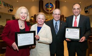 Rona Kaplan, an Atlantic City attorney, presents Dr. Maryann McLoughlin, assistant supervisor at the Sara and Sam Schoffer Holocaust Resource Center, with the Interfaith Award from the Beth El Synagogue and Bridge of Faith. Stockton University President Dr. Harvey Kesselman receives the Father Thom Schiavo Leadership Award presented by Stockton Trustee Raymond Ciccone, right. The late Father Thom Schiavo, who was assistant pastor at Blessed Sacrament Church in Margate at the time of his death at age 37 more than 20 years ago and was of Italian and Jewish descent, had reached across boundaries of religion and race to make the world a better place, said Rabbi Aaron Kraus of Beth El Synagogue, Margate, who is the founder of Bridge of Faith. Photo by Donna Connor Photography