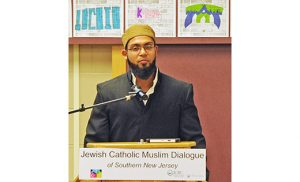Iman Morshad Saami Hossain, left, Muslim American Community Association, speaks at a program sponsored by the Jewish Catholic Muslim Dialogue of Southern New Jersey. Photo by Alan M. Dumoff