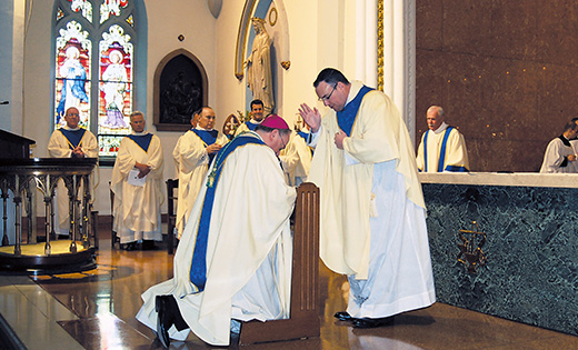 The blessing of a newly ordained priest